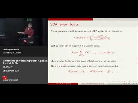 Chris Beem - Comments on Vertex Operator Algebras for N=2 SCFTs