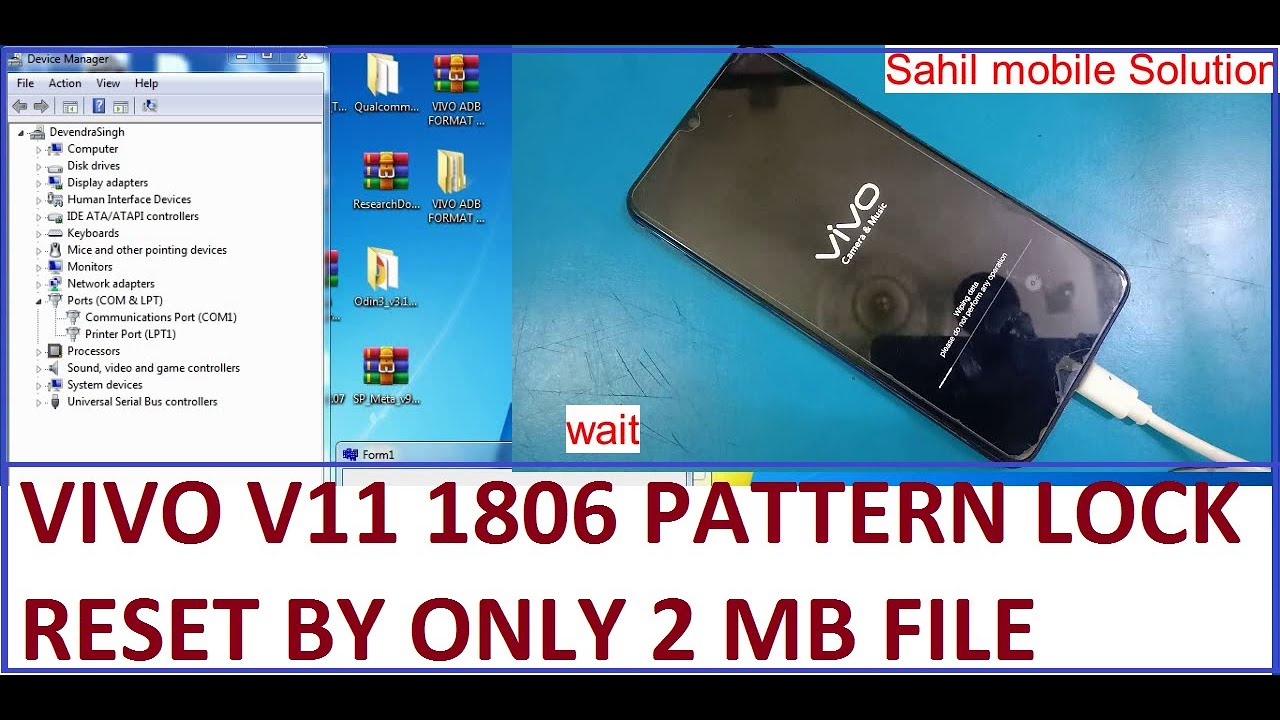 Vivo V11 1806 pattren lock and frp lock reset by only 2 mb file