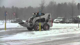 Volvo L110E And Bobcat S250 Plowing Snow