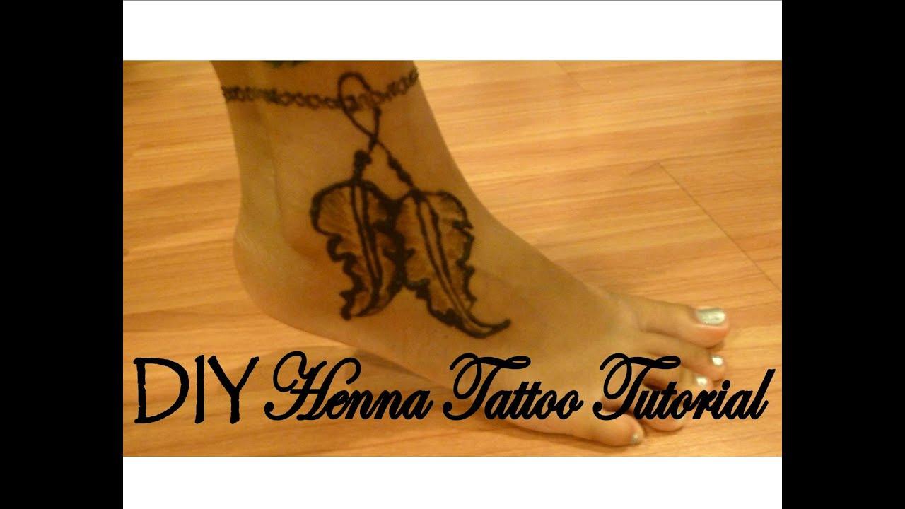 Diy Henna Tattoo Tutorial Feather Ankle Bracelet Boho Inspired