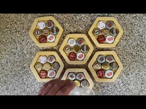Router made coasters set with Resin and bottle caps