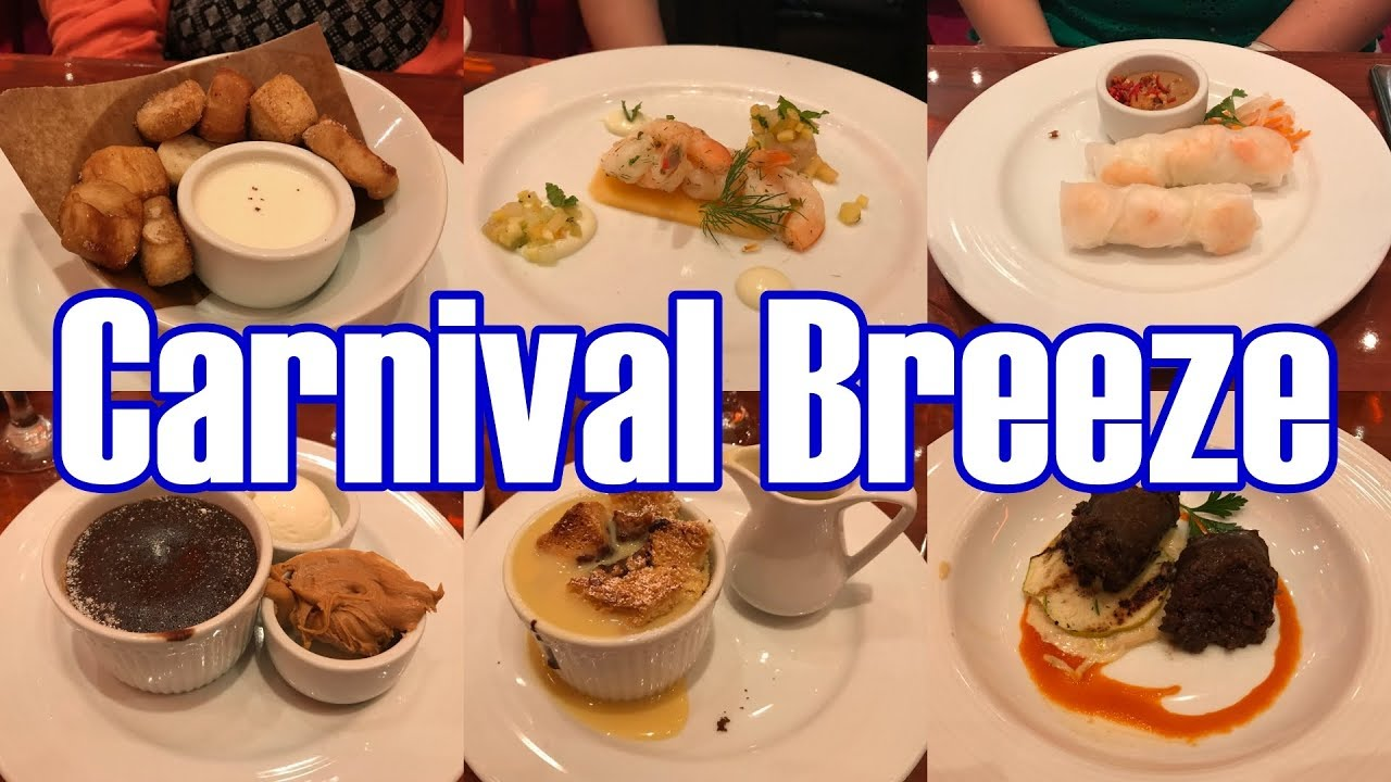 Carnival Breeze Main Dining Room Dinner Menus Food 14 Day Journeys Itinerary 2018 Parodeejay Youtube
