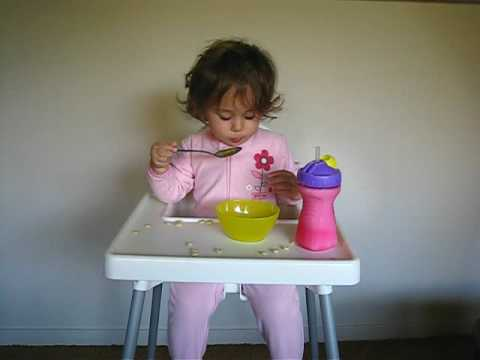 Toddler Eating Strawberries with a Spoon, Very Silly!