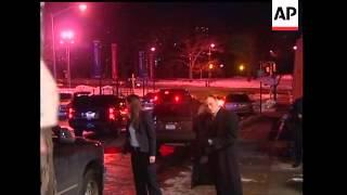 Secretary of State Hillary Clinton left the hospital Thursday night where her husband, former Presid