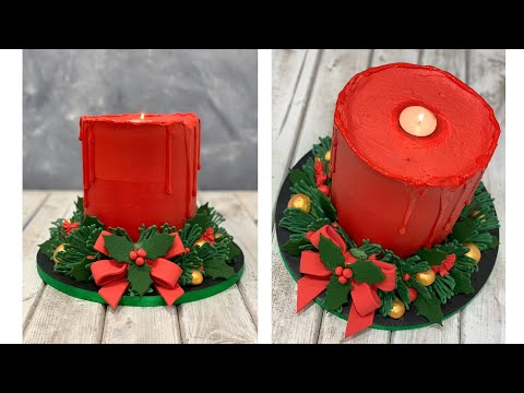 Christmas Candle Cake | Wreath Cake