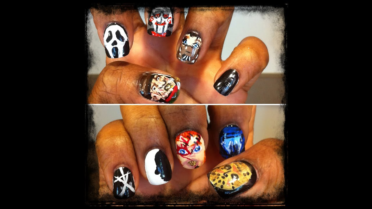 Halloween Horror Movie Nail Art Freddy Krueger Jason Voorhees The