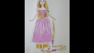 Drawing Rapunzel Barbie doll