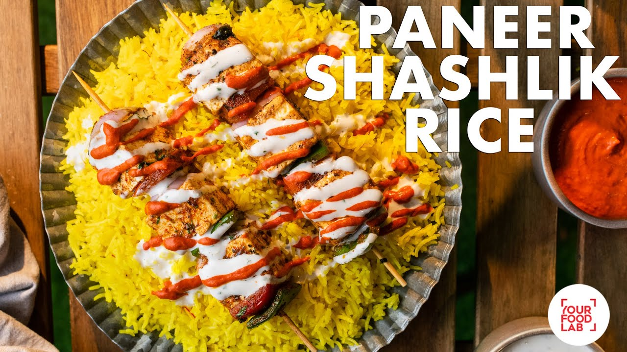 Paneer Shashlik Rice Recipe | NYC cart style Paneer Rice | White Sauce Hot Sauce | Chef Sanjyot Keer