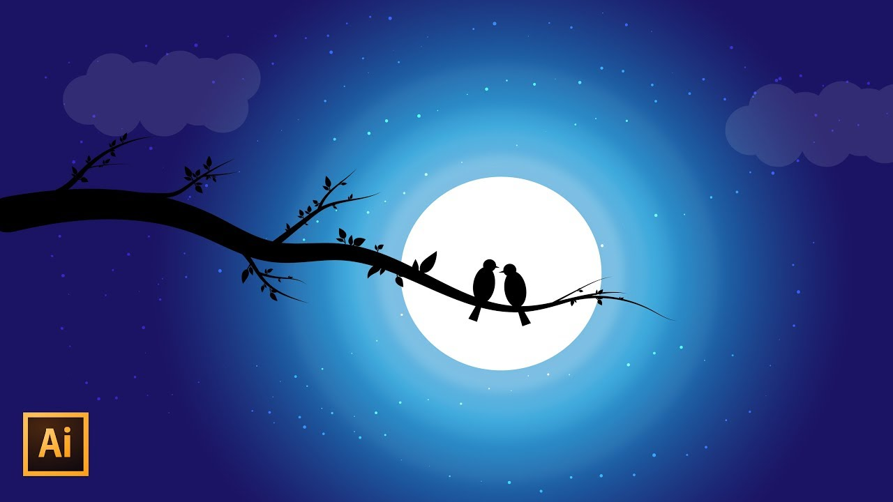 Night sky Vector Illustration with Silhouette Moonlight ...