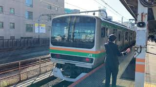 JR赤羽駅を入線.発車する列車パート1。