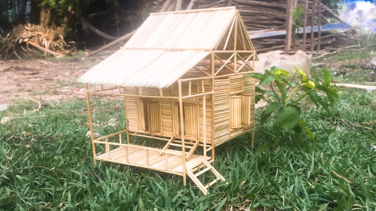 DIY, Making a house with beautiful bamboo toothpicks is simple   Khoeun Video