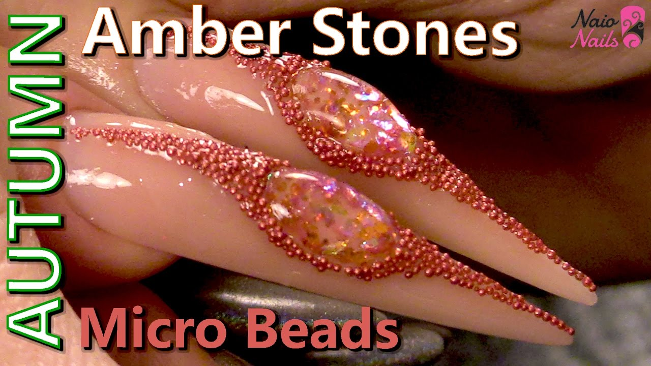 Amber Stones Gel Design - Naio Nails Tutorial - YouTube