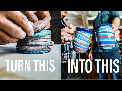 MAKING MARBLED MUGS - The ENTIRE pottery process - ASMR edition