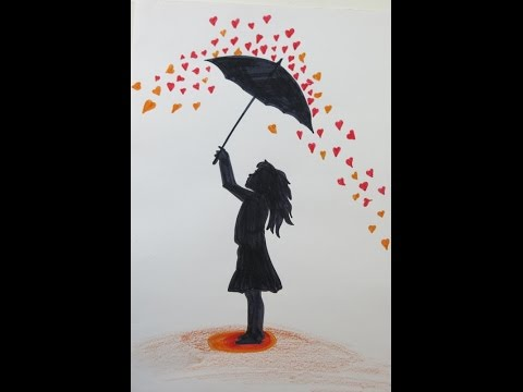 Valentine S Day Diy Drawing A Girl With An Umbrella In A Rain Of