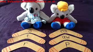 Letters and Sounds Phase 5a Week 3: Boomerang Spelling 'aw' & 'ea'