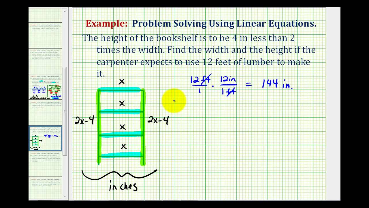Ex Find The Dimensions Of A Bookcase Using Linear Equation