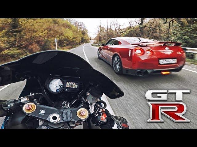 Мотоцикл VS Nissan GTR - Сотрудники ДПС остановили за сплошную