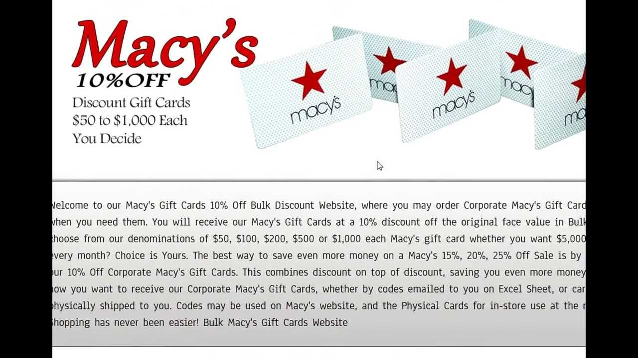 12% off Bulk Macy's Gift Cards Corporate Discounts save BIG - YouTube