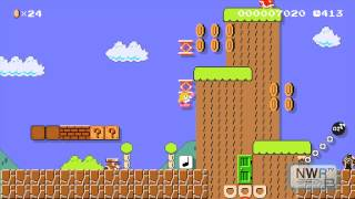 Super Mario Maker: Pink Parasol Mystery Mushroom (Direct Feed Gameplay)