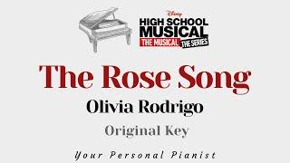 The Rose Song - Olivia Rodrigo (ORIGINAL Key Karaoke) - Piano Instrumental Cover with Lyrics
