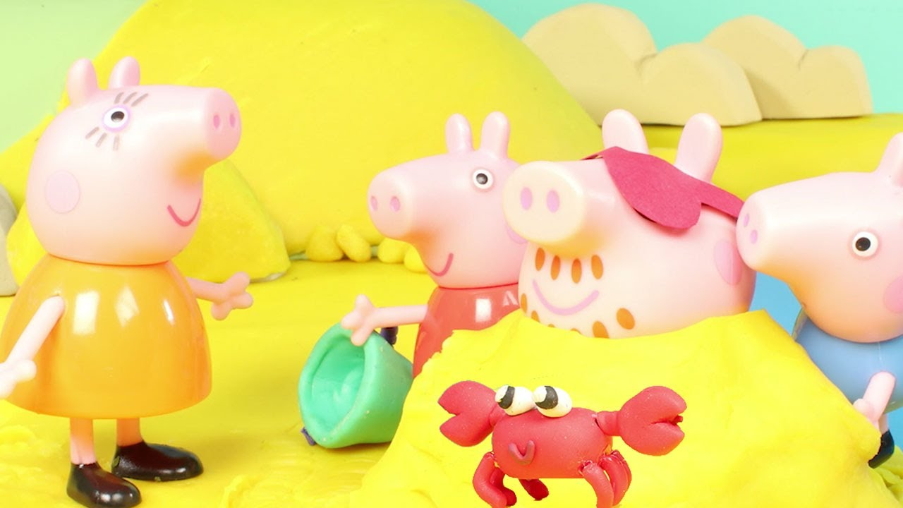 Peppa Pig at the Beach   Peppa Pig Stop Motion   Peppa Pig Toy Play