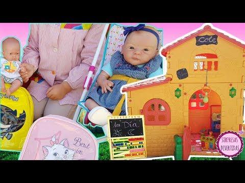 Primer día de cole para mis bebés Lindea y Ben -Vídeos de muñecas Reborn y juguetes