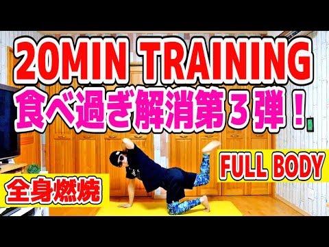 食べ過ぎ解消20分間トレーニングで脂肪燃焼#3 【全身燃焼コース】有酸素運動 20MIN  FULL BODY WORKOUT AT HOME 脂肪燃焼&有酸素運動