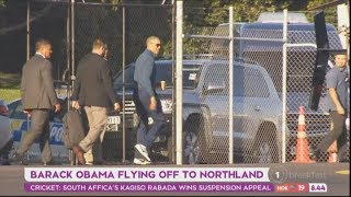 Smiling Barack Obama casually strolls to helicopter in ahead of round of golf with John Key