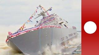جدیدترین کشتی رزمی آمریکا به آب انداخته شد