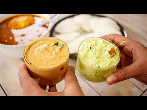 2 Dosa Chutneys Recipe - Nariyal And Peanut Chutney For Idli - CookingShooking