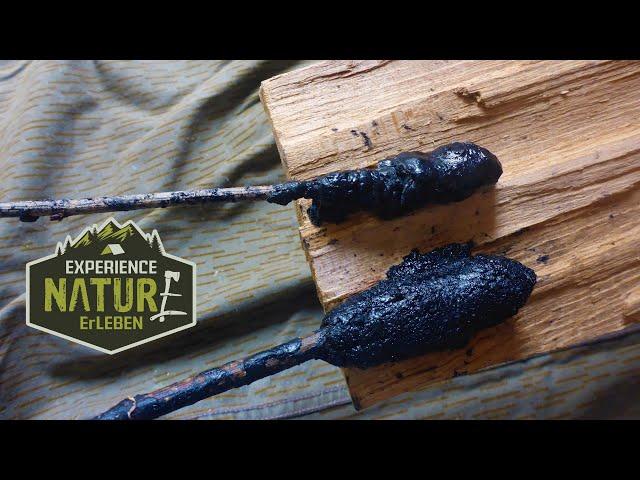 Harzkleber am offenen Feuer ohne Werkzeuge herstellen - Der beste Kleber für Bushcraft und Survival