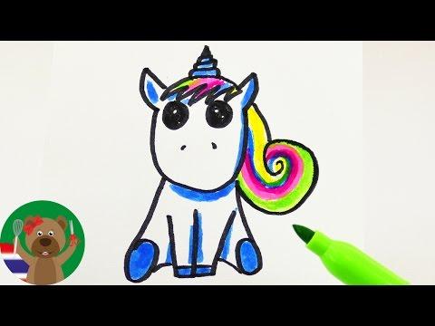 วิธีวาดม้ายูนิคอร์นสุน่ารักพร้อมสีสันสดใส   ไอเดียการ์ดเชิญ/การ์ดอวยพรวันเกิด