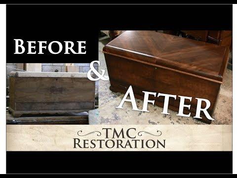 Restoring the Veneer on an Antique Cedar Lined Chest - TMC Restoration
