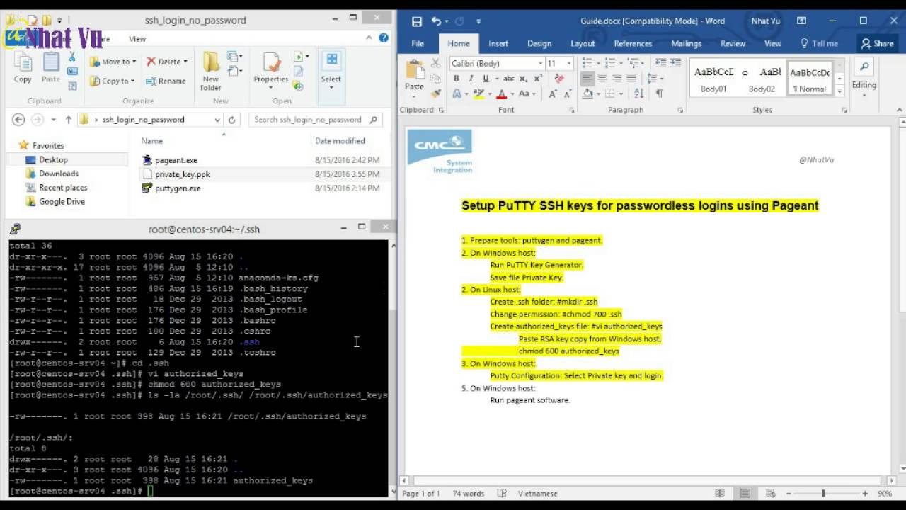 copy rsa key from windows to linux