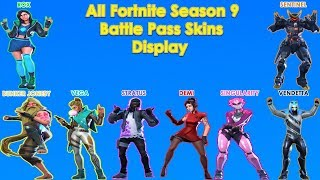 Tous les Fortnite Saison 9 Battle Pass Skins (Outfits) Display