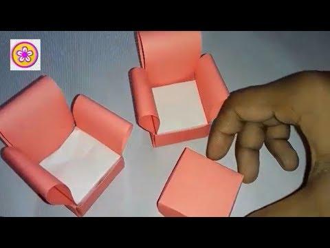 Origami Table & Chair| How to make a paper Sofa| DIY Miniature Sofa