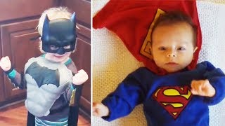 SUPERHERO BABIES COMPILATION - try not to laugh challange
