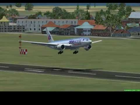 FSX B777 landing Manila (American Airlines One World library)