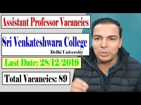 Assistant Professor Vacancies In Delhi University    Sri Venkateswara College Vacancies
