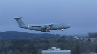 (WEF 2018) US Air Force Lockheed C-5 Galaxy landing runway 34 at ZRH with live ATC