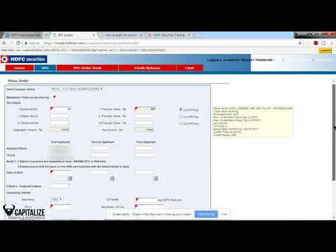 How to Apply IPO ASBA Application in HDFC bank online (hindi)