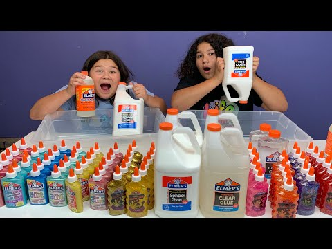 MIXING ALL OUR ELMERS GLUE - GIANT ELMERS SLIME SMOOTHIE