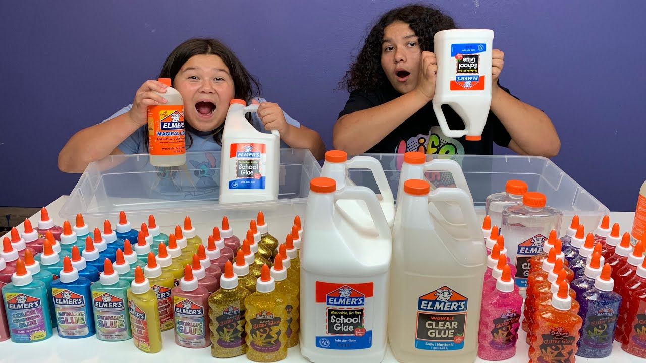 Download MIXING ALL OUR ELMER'S GLUE - GIANT ELMER'S SLIME SMOOTHIE