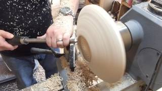 #5 Wood turning a stone effect rimmed wooden platter