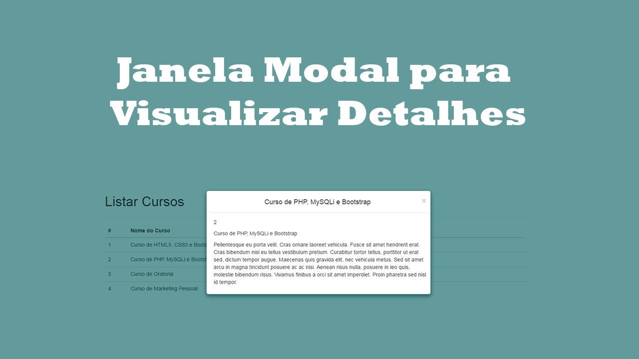 Como Criar Janela Modal para Visualizar Detalhes do Produto - YouTube 0598dba7dff