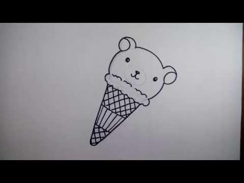 วาดรูป ไอศครีม หมีคุมะ วาดการ์ตูนกันเถอะ สอน วาดรูป การ์ตูน