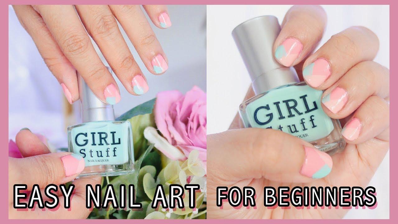 EASY NAIL ART TUTORIAL FOR BEGINNERS & SHORT NAILS | Girlstuff Nail ...
