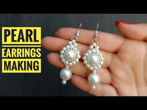 How To Make// Most Beautiful Pearl Earrings//At Home//  Useful & Easy