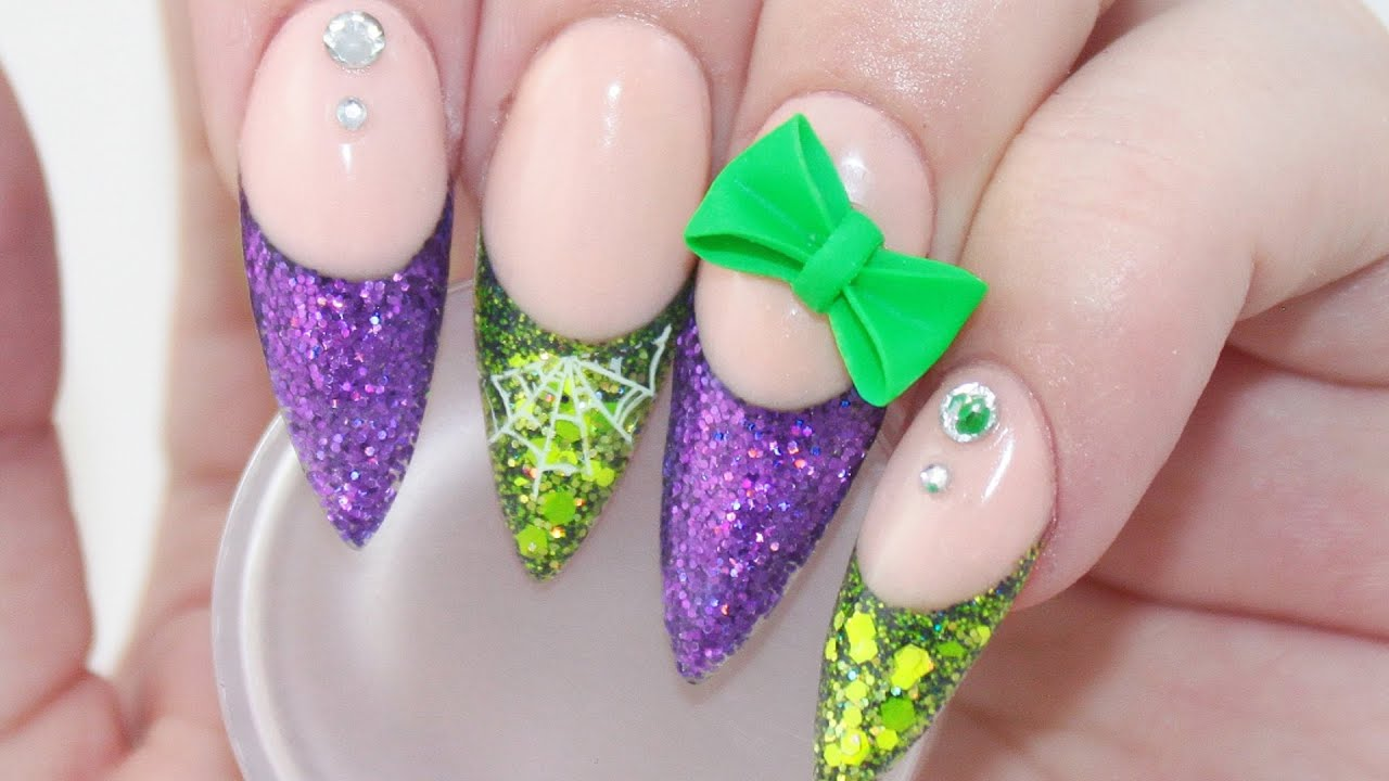 Halloween Acrylic Nails with 3D Bow - YouTube