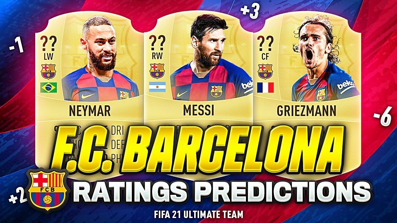 Fifa 21 Fc Barcelona Players Ratings Predictions W Neymar Griezmann De Jong Messi Youtube